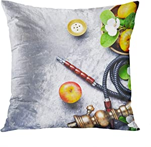 Suklly Throw Pillow Cover Square 20x20 Inch Double Print East Hookah with The Aroma Apple for Relax Apple Shisha Shisha Hookah Cushion Case Office Sofa Hidden Zipper Polyester Pillowcase
