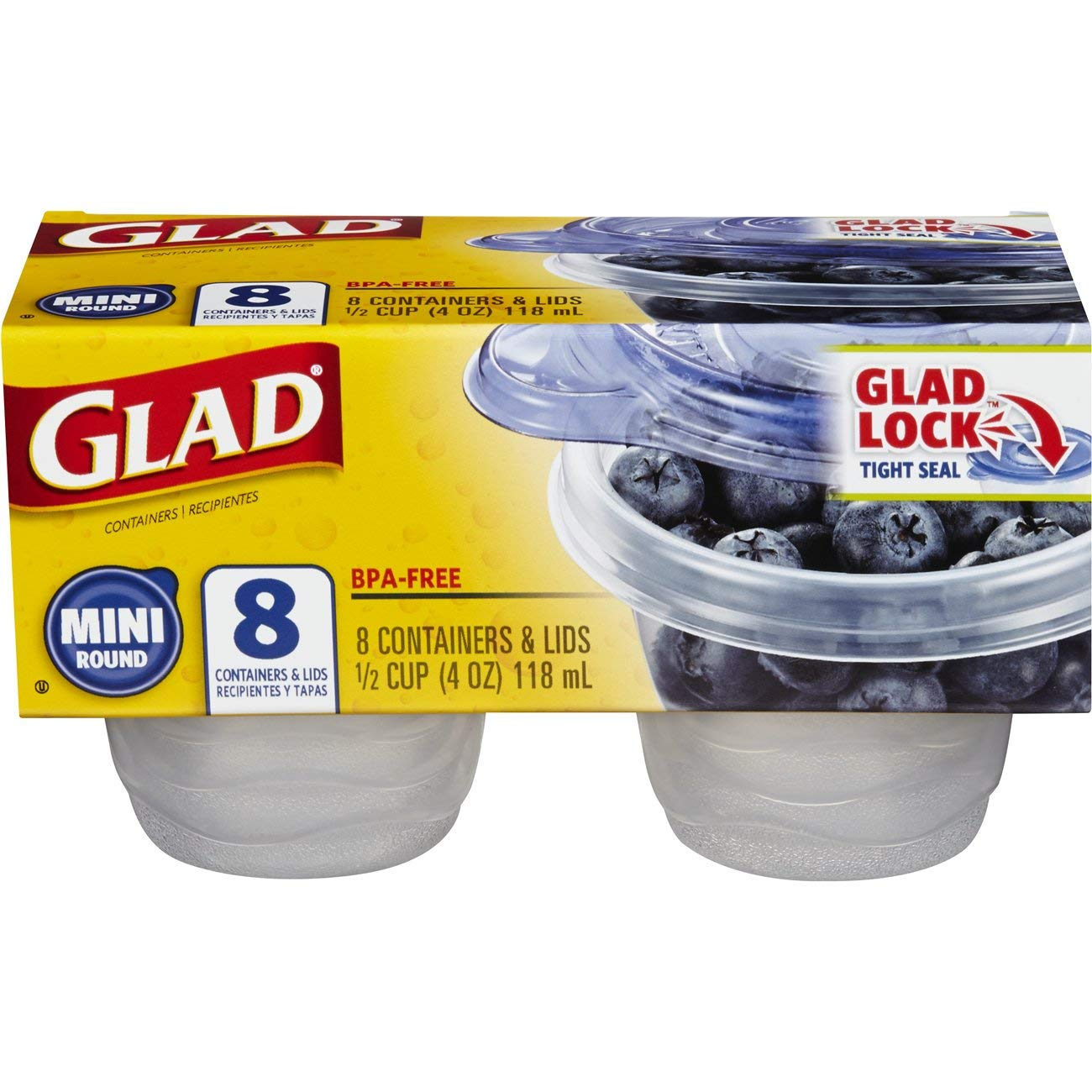 Glad Food Storage Containers - Mini Round Containers - 4 Ounce - 8 Containers