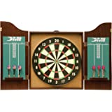 DMI Sports Recreational Bristle Dartboard Cabinet Set Includes Dartboard, Two Dart Sets, and Traditional Chalk Scoring