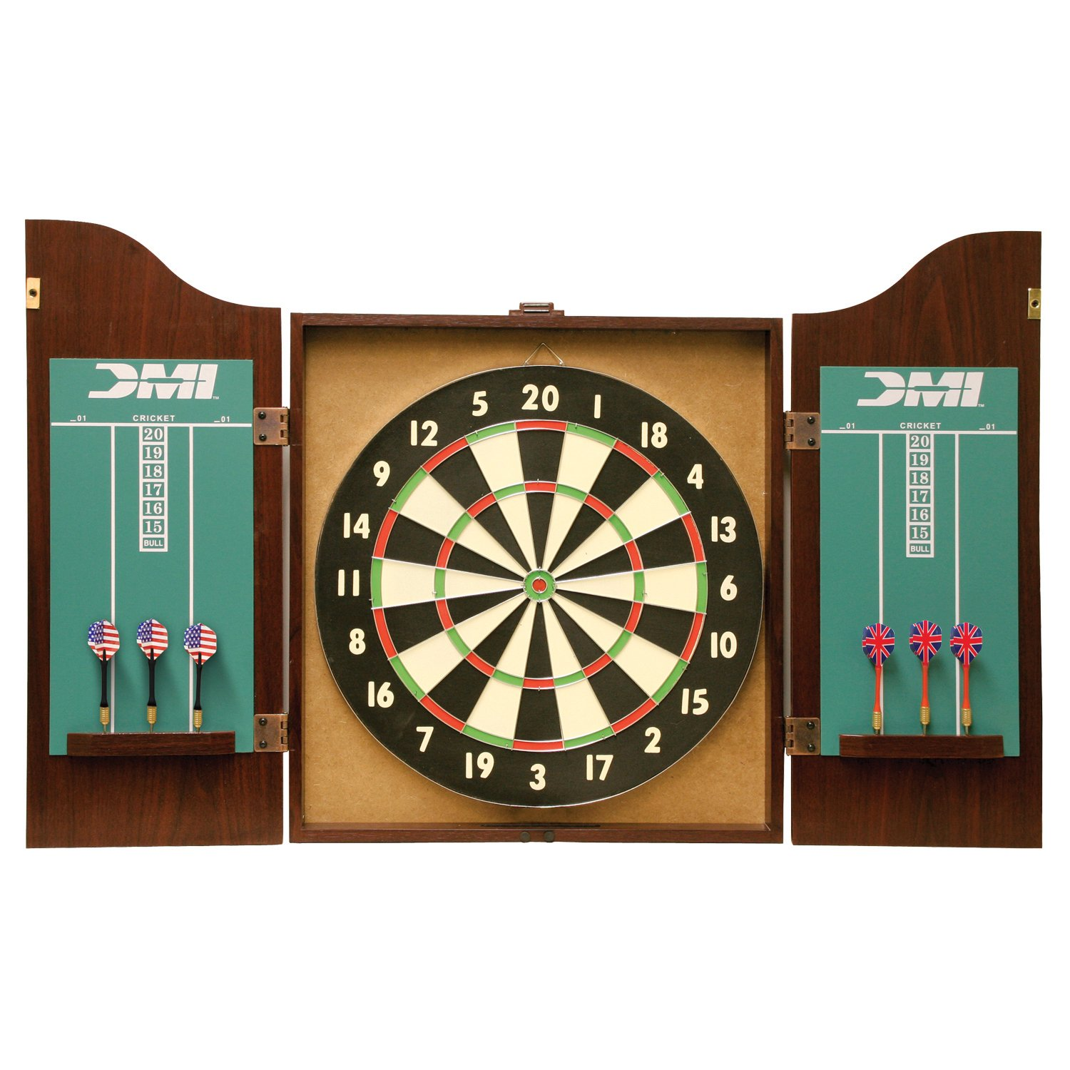 DMI Sports Recreational Bristle Dartboard Cabinet Set Includes Dartboard,  Two Dart Sets, And Traditional