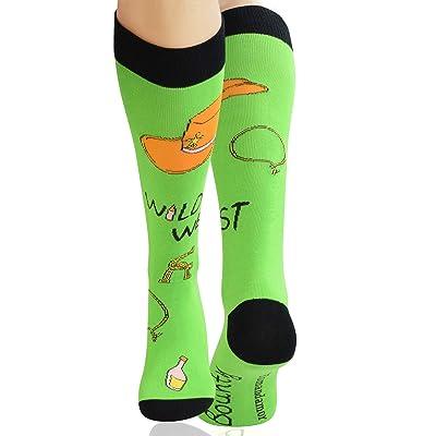 Yomandamor Mens Cotton Novelty Funny Dress Socks Over the Calf Socks with Seamless Toe at Men's Clothing store