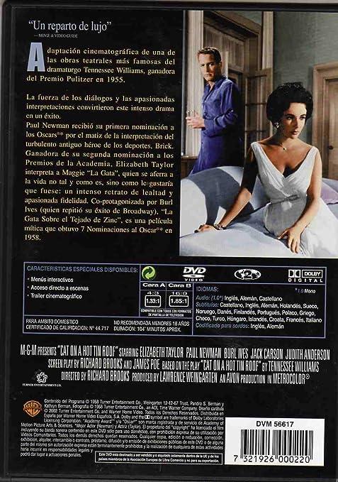 Amazon.com: La Gata Sobre El Tejado De Zinc (Cat On A Hot Tin Roof) (1958) (Non Us Format) (Region 2) (Import): Paul Newman, Burl Ives, Jack Carson, ...
