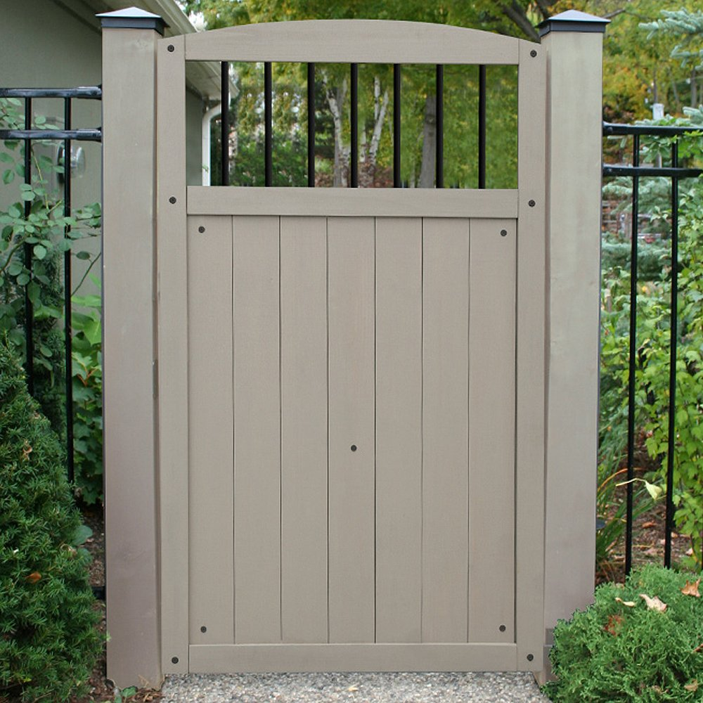 Yardistry Gate with Black Baluster Inserts, 42-Inch by 68-Inch, Gray