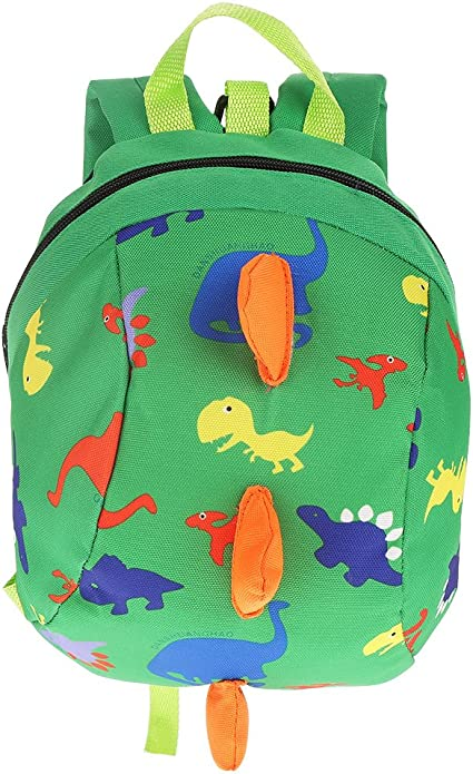 Kids Toddler Backpack Anti-Lost Dinosaur Backpack Schoolbag Cartoon Baby Safety Harness Lightweight Backpack Toddler Children(7.87 x 10.24 x 4.72in-Green)