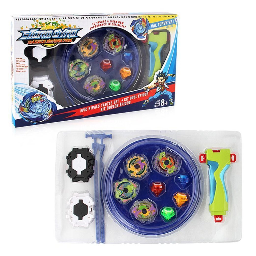 JJQ-Toys 1 Set of Bey Battling Top B-73 Burst God Valkyrie.6V.Rb+B-79 Starter Drain Fafnir 8nt+B-97 Starter Nightmare Longinus.Ds+B-100 Starter Spriggan Requiem.0.Zt with Launcher Toys Toys Accesorries