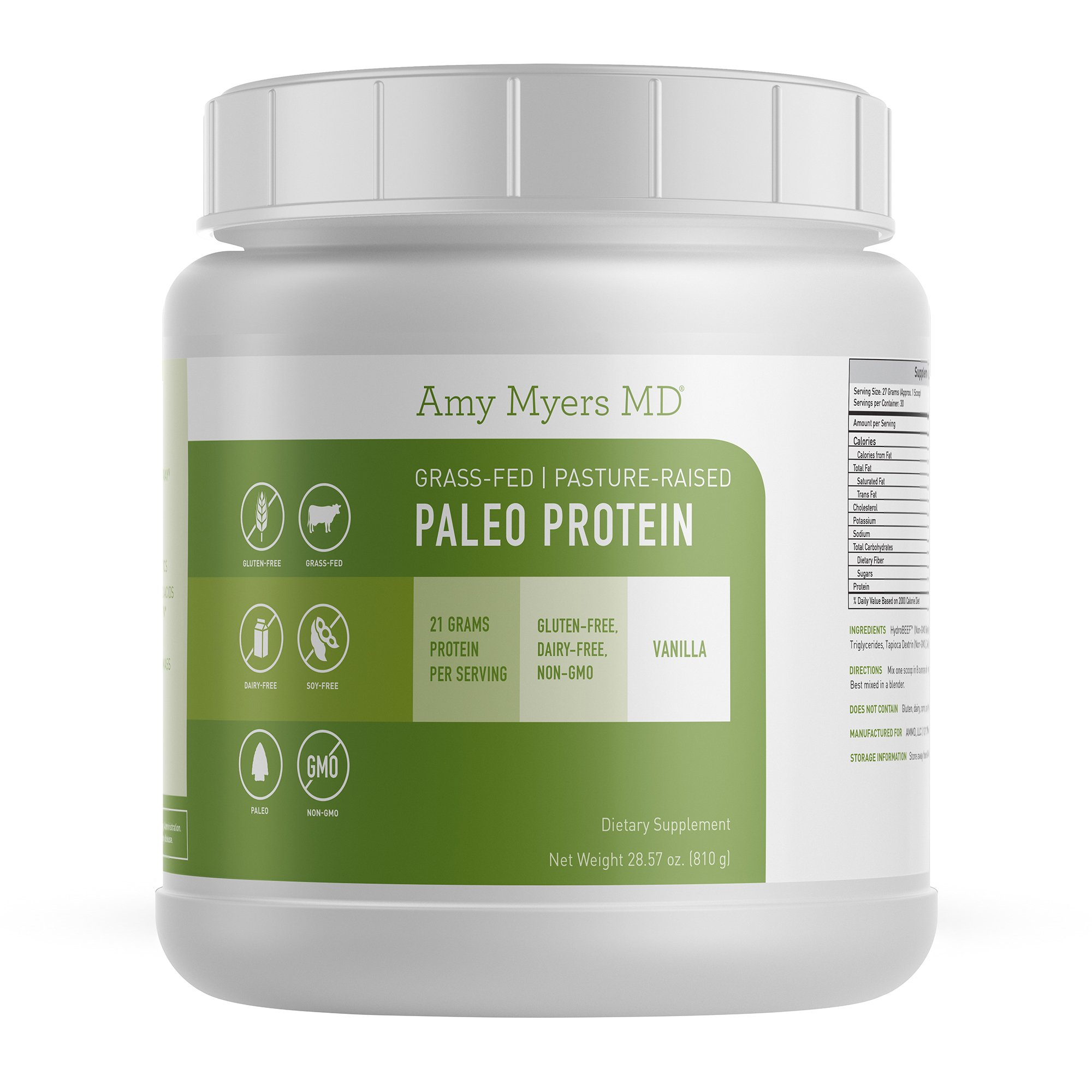 Pure Paleo Protein by Dr. Amy Myers – Clean Grass Fed, Pasture Raised Hormone Free HyrdoBEEF Protein, Non-GMO, Gluten & Dairy Free – 21g Protein Per Serving – Creamy Vanilla Shake for Paleo and Keto