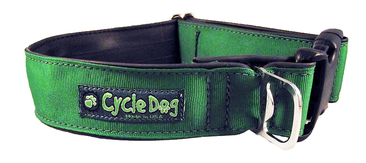 Cycle Dog Bottle Opener Recycled Dog Collar, Wide Width, Solid Green, Large