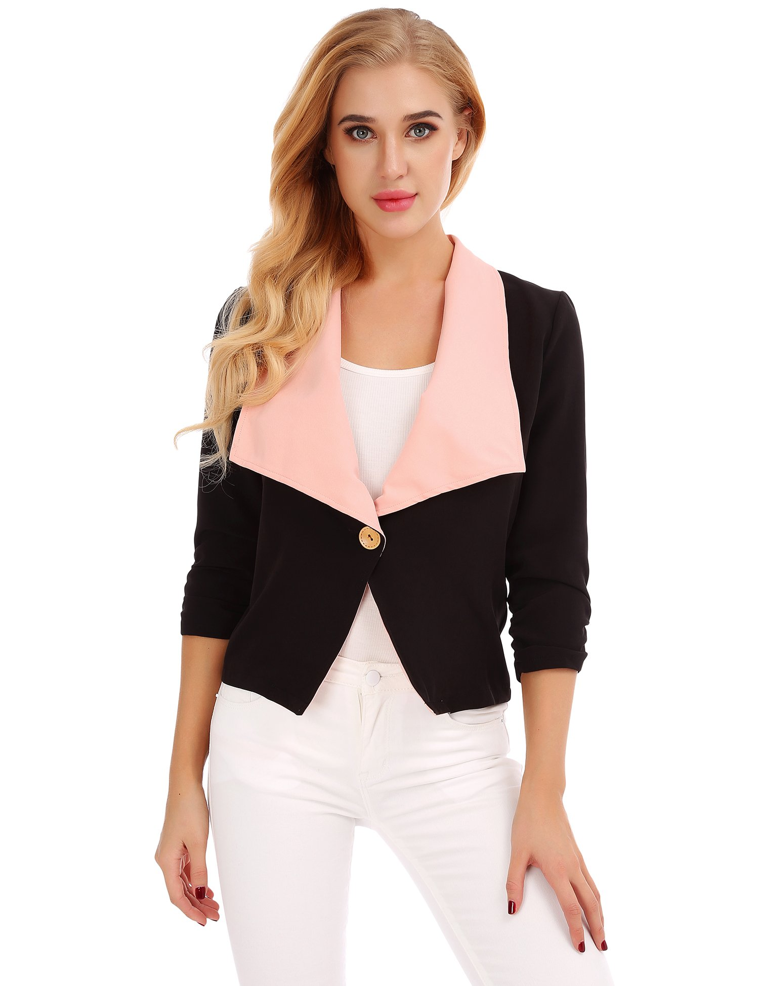 FISOUL Women Tops 3/4 Sleeves Mixed Color Casual Daily Open Front Blazer Jacket Pink XXL