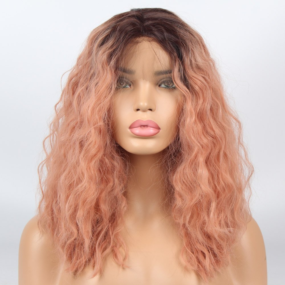 vvBing Short Bob Lace Front Wig Synthetic 2 Tones Auburn Ombre Dark Roots to Auburn Wig Glueless Wave Hair Heat Resistant Fibers Middle Parting Shoulder Length Hair Wave Short Bob Wigs 14Inch