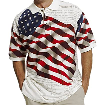 74c18563c Cotton Traders Allover Patriotic Polo Shirt (XLarge