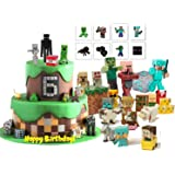 Pixel Game Figure Cake & Cupcake Toppers And Temporary Tattoos 56 pcs