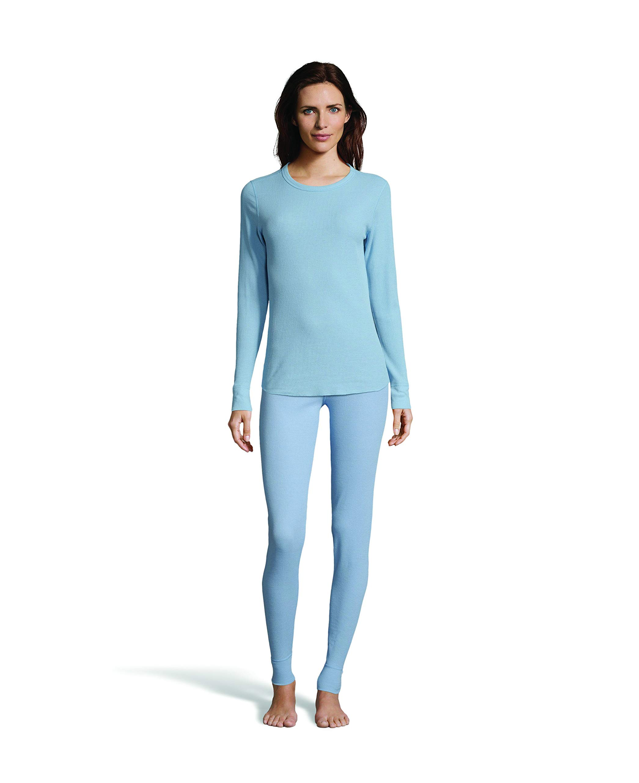 Hanes Women's Long Sleeve Thermal Waffle Knit Crew with FreshIQ and X-Temp Technology Dusty Blue by Hanes