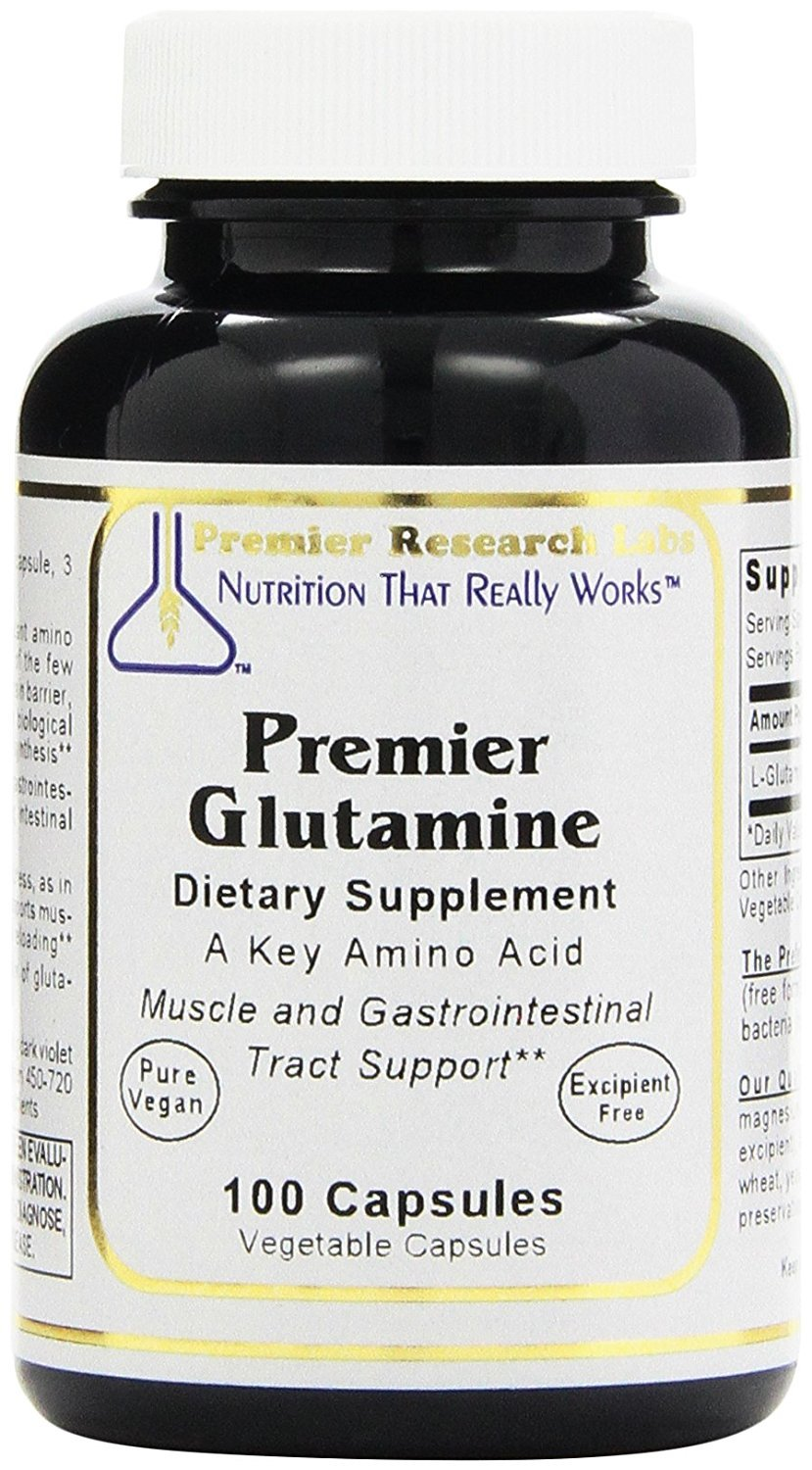 Glutamine by Premier Research Labs -300 VCaps - 3 Bottles Premier Muscle and Gastrointestinal Tract Support