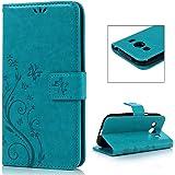 Samsung Galaxy Ace 4 SM-G357FZ Etui Cuir-Etui à Rabat Portefeuille de Carte Slots Support Case Cover Housse-ZSTVIVA [Style d'Impression] Bleu