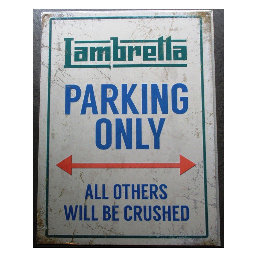 hotrodspirit - plaque lambretta parking only deco garage scooter tole pub
