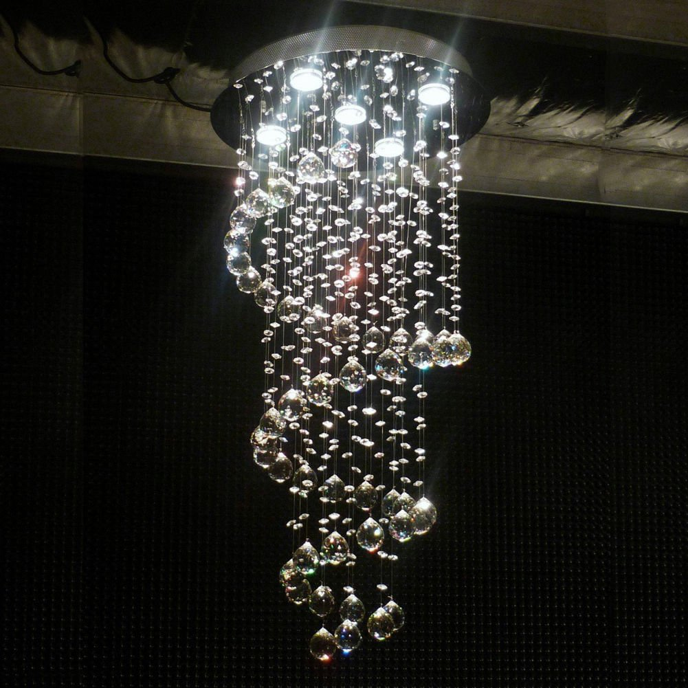 FidgetGear Modern Spiral Rain Drop LED K9 Crystal Chandelier Pendant Light Ceiling Lighting