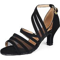 Syrads Chaussures de Danse Latine pour Femmes Chaussures de Danse Tango Valse Samba Salsa Sandale Talon Haut
