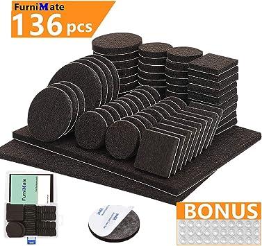 Furniture Pads 136 Pieces Pack Self Adhesive Felt Pad Brown Felt