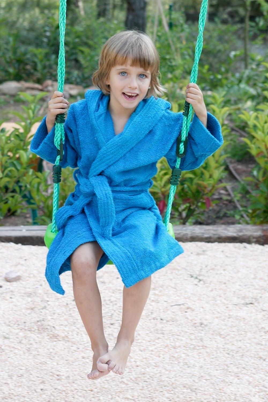 colore turchese Accappatoio da bambino con cappuccio in taglia 2 Home Basic Kids