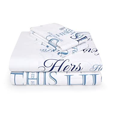 Bed Hog His & Hers 300 Thread Count 100% Cotton Sateen Printed Sheet Set - Queen, Blue