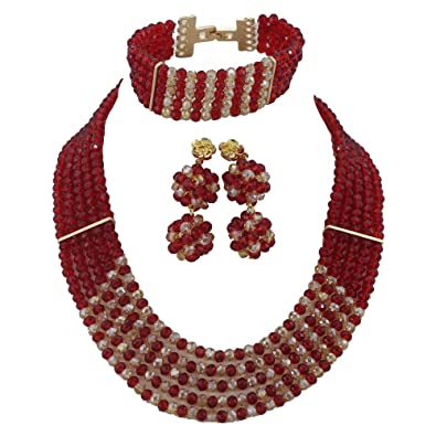 AfricanBeads 6-Row 6mm African Artificial Crystal Beads Jewelry Sets,Woman Statement Necklace Sets