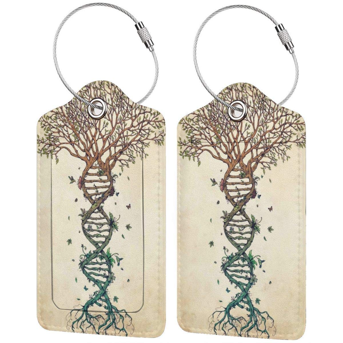 GoldK Tree of Life Leather Luggage Tags Baggage Bag Instrument Tag Travel Labels Accessories with Privacy Cover