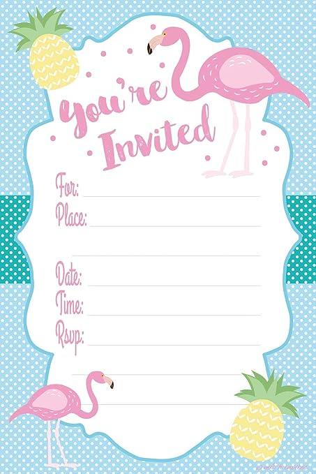 amazon com flamingo luau party invitations fill in style 20