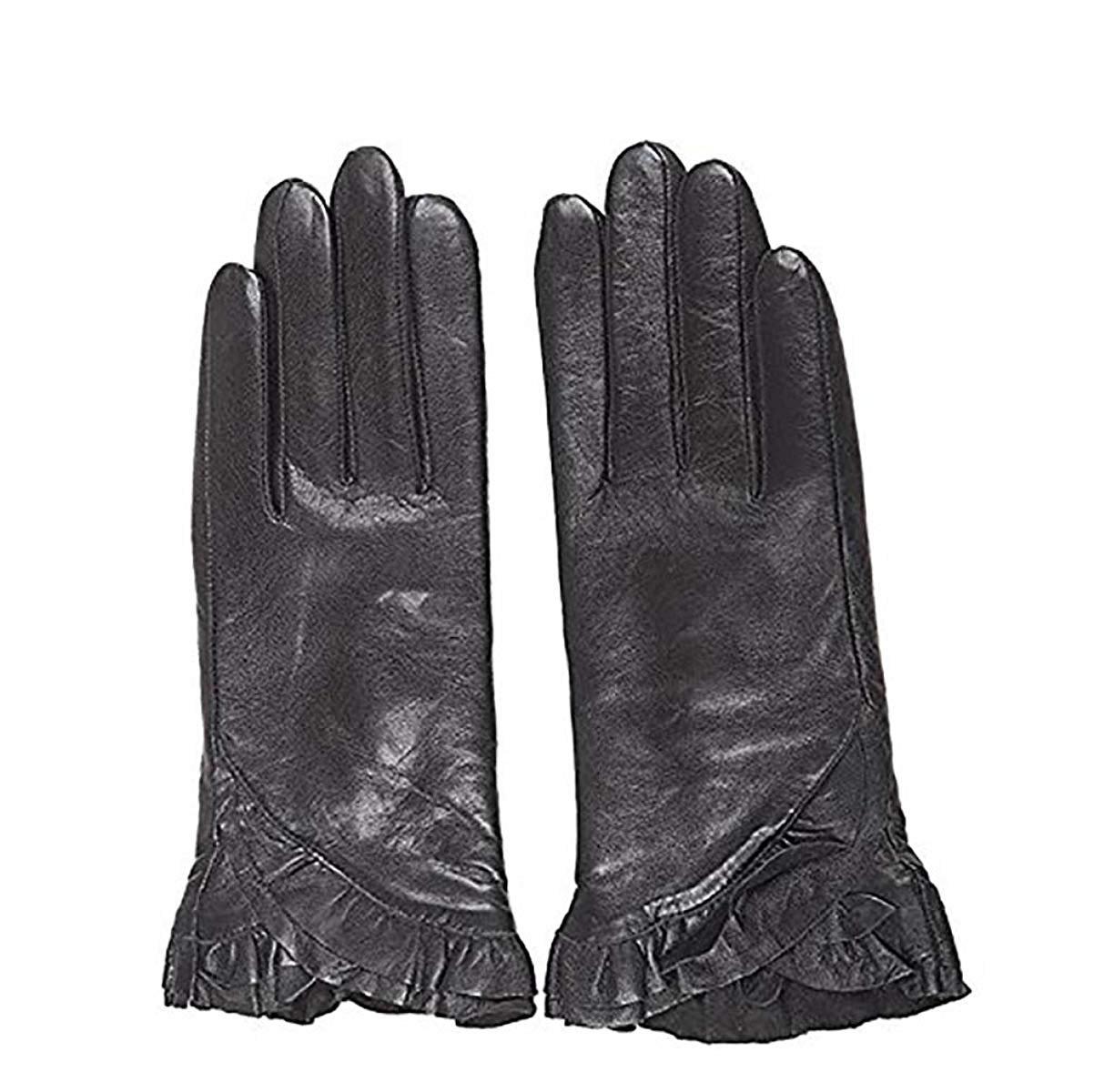 CWJ Women's Real Leather Gloves Short Fashion Thin Classic Touchscreen Texting Black,Black,Medium