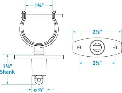 Chrome-Plated Zinc Includes 2 Rowlocks with Locking Pins and Sockets Seachoice 70401 Top-Mount Rowlock Set