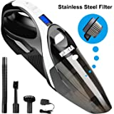 WELIKERA Dust Buster Cordless, 12V 100W Cordless Handheld Vacuum, Powerful Portable Vacuum Cleaner, Rechargeable Vacuum with Stainless Steel Filter and A Carrying Bag, Black