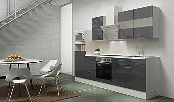 respekta Premium Einbau Küche Küchenzeile 270 cm weiß grau Glanz ...