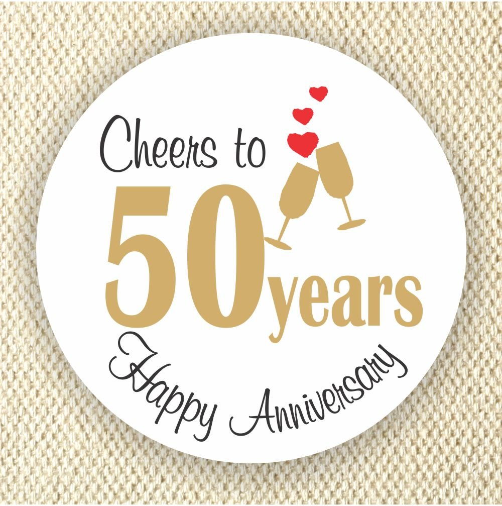 Cheers to 50 years stickers - Anniversary labels - 50th Anniversary stickers - Set of 40 Labels