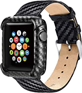 Apple Watch Case 38mm Series 3 Series 2 Band with Case,Leather Bands with Carbon Fiber Protective Heavy Duty Case with Soft TPU Bumper for Apple Watch 38mm Series 3 Series 2