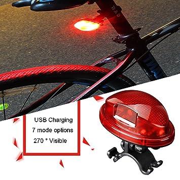 Luces LED para bicicleta, resistente al agua USB recargable ...