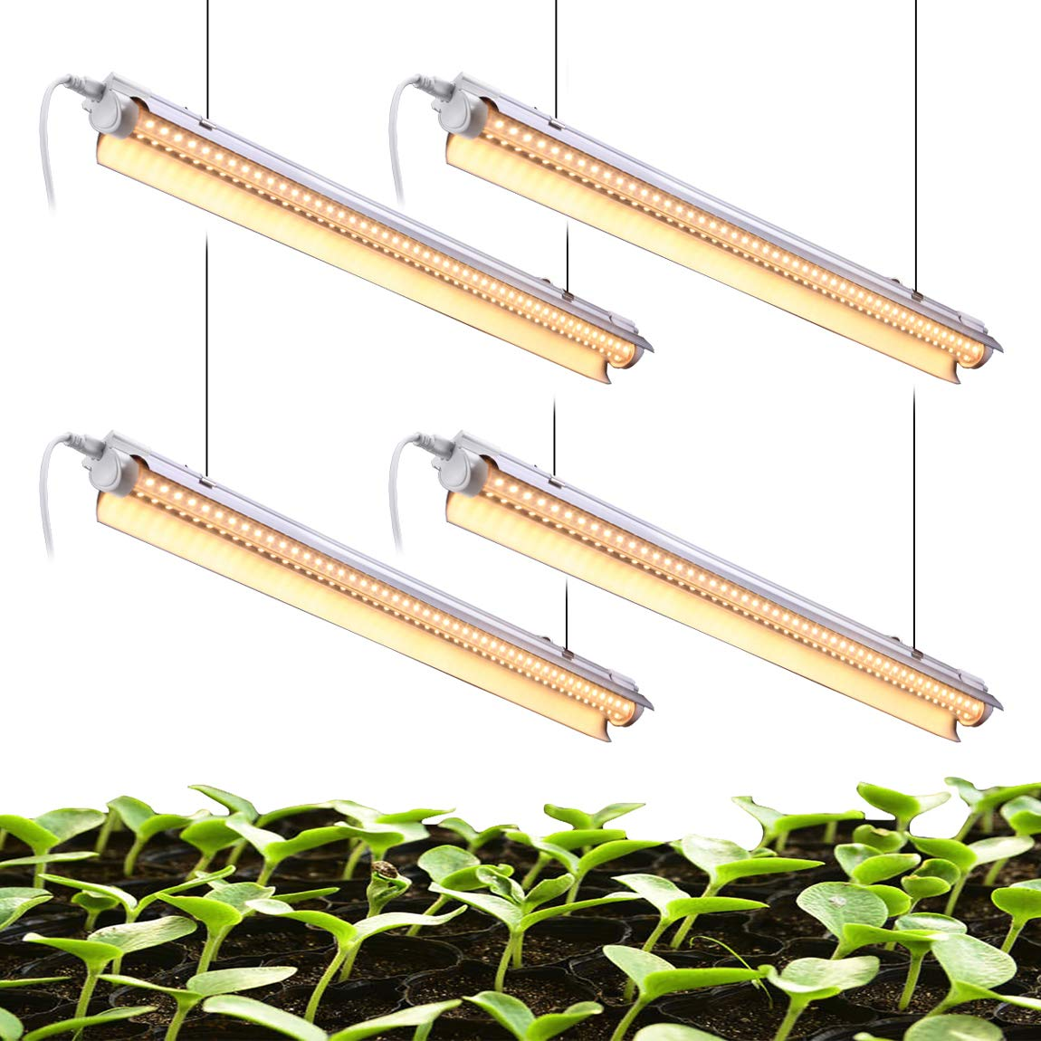 Grow Shop Light 2-Row V-Shape T8 Integrated Growing Lamp Fixture EAMATE White Light Full Spectrum LED Grow Light 24W x 4 Pack of 4 with ON//Off Switch Plug and Play
