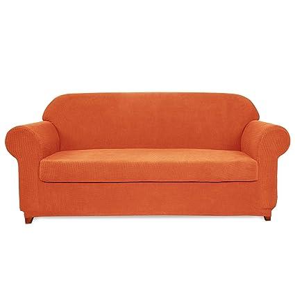 Amazon.com: Subrtex 2-Piece Jacquard High Stretch Couch Slipcover ...