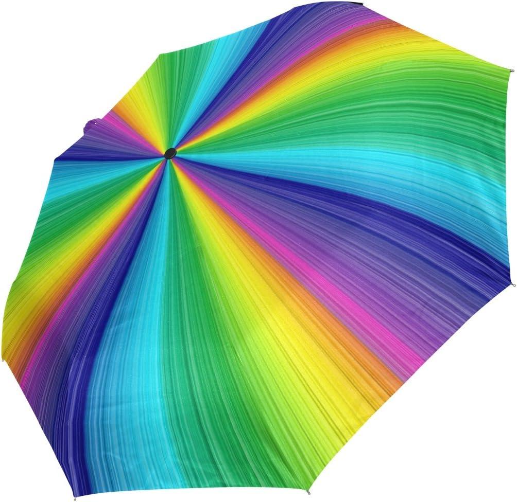 GIOVANIOR Colorful Rainbow Umbrella Double Sided Canopy Auto Open Close Foldable Travel Rain Umbrellas