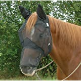 Cashel Quiet Ride Horse Fly Mask With Ears and Long Nose, All Sizes