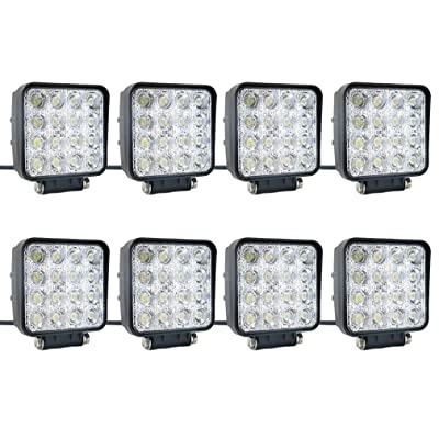 8 pcs one pack 48w 30 Degree LED flood Beam Lights Square Off-road bulb lamp light fog lighting exterior For Jeep Cabin/Boat/SUV/Truck/Car/ATV/Vehicles/automative/jeep/Marine