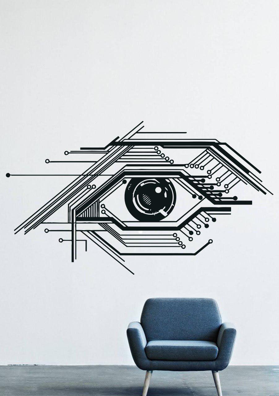 Wall Decals Decor Vinyl Eye Chip Chips Online Cyberpunk GMO0705
