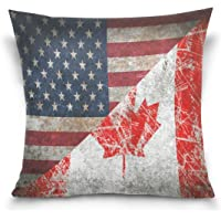 ALAZA Double Sided Retro American Flag and Canada Flag Maple Leaf Cotton Velvet Pillowcase Square and Rectangle Standard Size Sofa Waist Throw Cushion Cover Home Décor