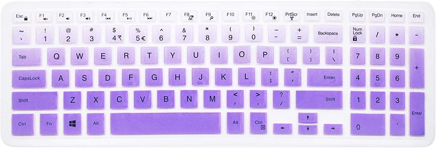 """Keyboard Cover Skin for 15.6"""" Dell Inspiron 15 7000 Series, 15.6"""" Dell Inspiron 15 3000 5000 Series, Dell Inspiron 17 5000 Series, 15.6"""" Dell G3 G5 G7 Series, 17.3 inch Dell G3 Series (Ombre Purple)"""