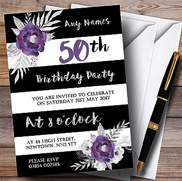 Amazon black white silver purple flower 50th personalized black white silver purple flower 50th personalized birthday party invitations filmwisefo