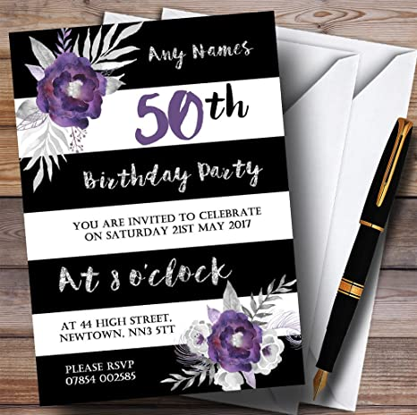Image Unavailable Not Available For Color Black White Silver Purple Flower 50th Personalized Birthday Party Invitations