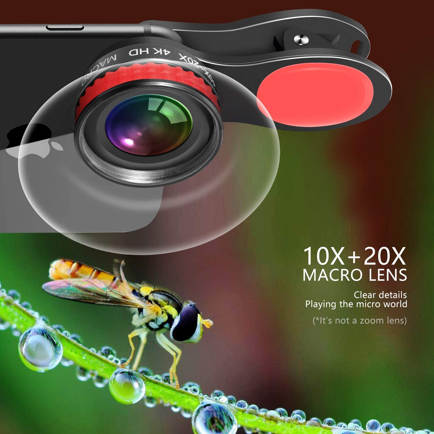 HD Smartphone Lens for iPhone Cell Phone Camera Lens 20X /& 10X Super Macro Lens Samsung Android Micro World