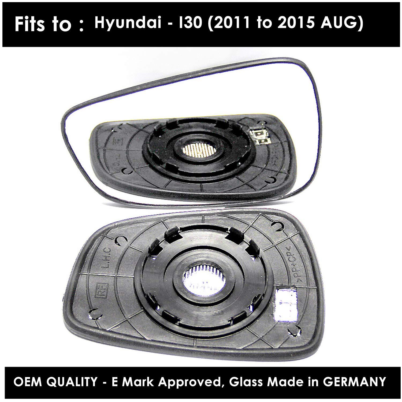 Passenger Side Silver Door Mirror Glass Including Base Plate LH HYU-I30 2012 onward Heated