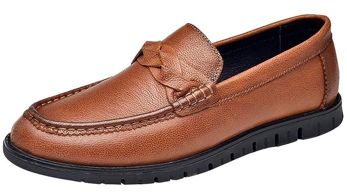 Mocasines Para Hombres Zapatos Casuales De Negocios Zapatos De Cuero Negros Perezosos Moda Marrón,Brown-44EU: Amazon.es: Ropa y accesorios