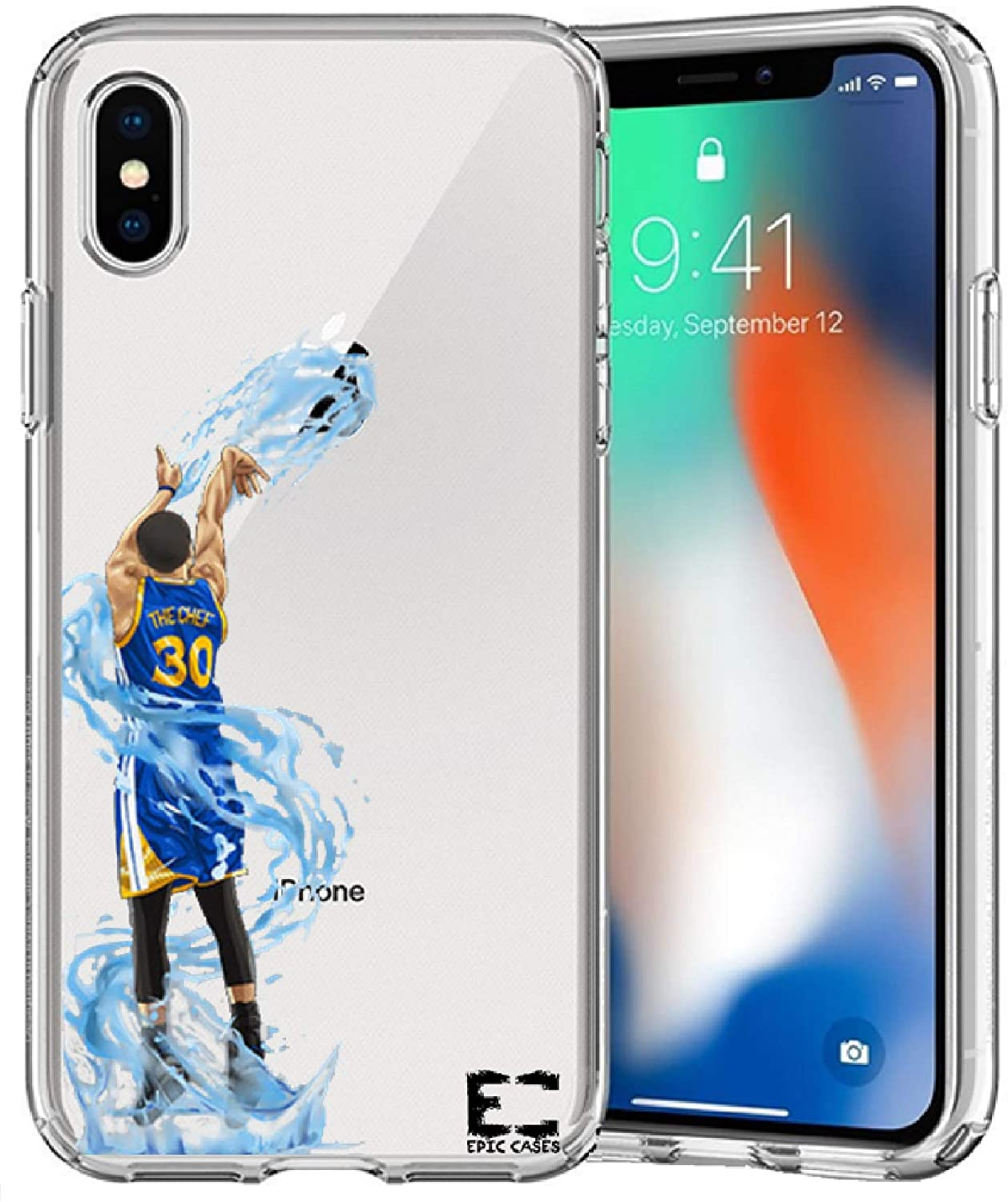 iPhone XR Case Epic Cases Ultra Slim Thin Light Wireless Charging Crystal Clear Basketball Series Soft Transparent TPU Case Cover Apple (Curry Warriors, iPhone XR)