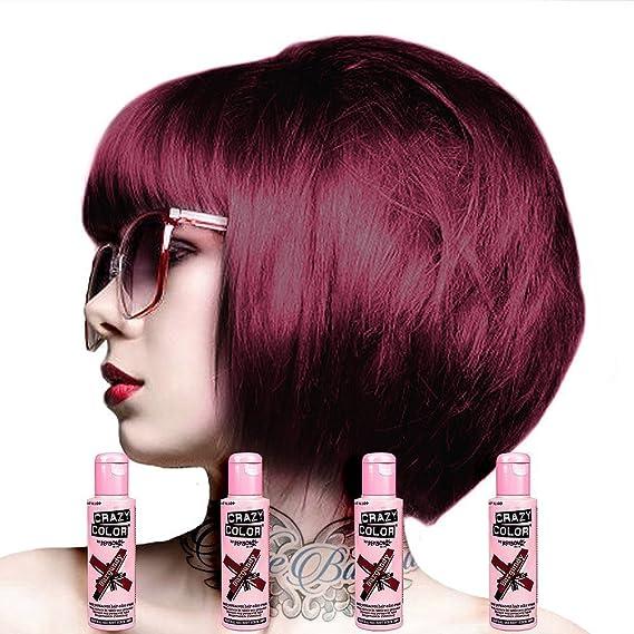 Amazon Com 4 X Crazy Color Renbow Semi Permanent Hair Colour Cream Dye 100ml Box Of Four Burgundy Beauty