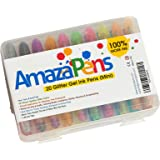 AmazaPens Gel Pens for Kids - MINI 20 Glitter Pack with Maxi Ink & Carry Case Ideal for Kids Best for Purse or School Bag Perfect Gift for Portable Coloring and Instant Inspiration